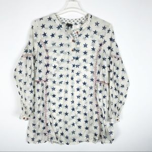 Lane Bryant 22/24 Blouse Stars Red White Blue